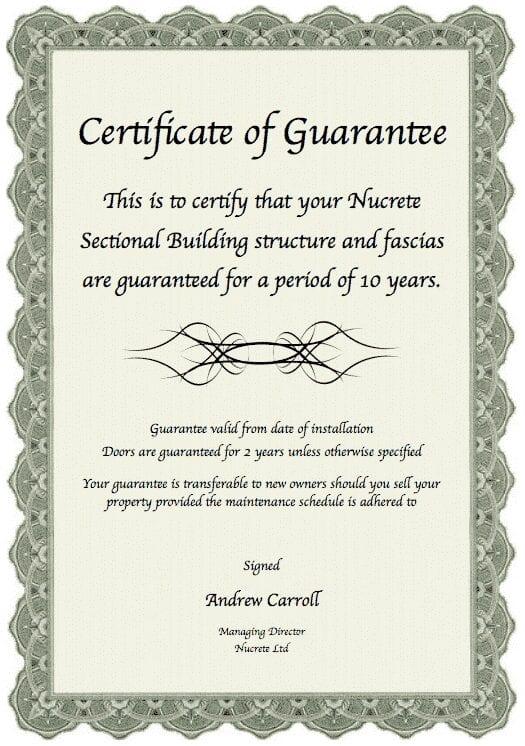 nucrete guarantee